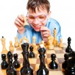 Nerd play chess — Stockfoto