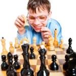 Nerd play chess — Stock Photo