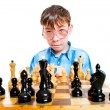 Nerd play chess — Stock Photo #1189218