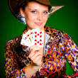Girl and royal flush — Stock Photo