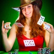 Girl and playing cards — Stock Photo #1189696