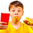 Child and fast food - Foto Stock