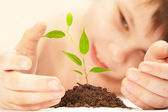 El niño observa el cultivo de un joven — Foto de Stock