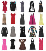 Female dresses. 20 pieces. — Stock Photo