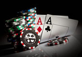Gambling chips and aces — Stock Photo