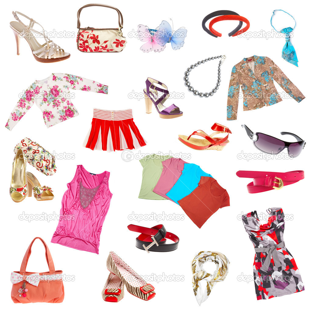 Lady's clothes and accessories on a white background — Foto Stock #1189100