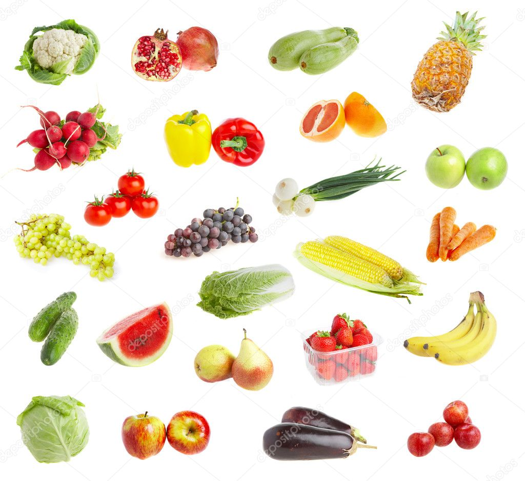 Ripe freshs fruit andvegetables. Wholesome food.  Stock Photo #1189383