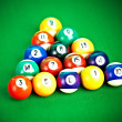 Billiard balls on green cloth — Stock Photo #1190055