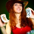 Girl and playing cards — Stock Photo #1190064