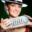 Girl and playing cards — Stock Photo
