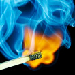Match flame and smoke — Stock Photo