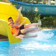 Father with the son on waterslide — Stock Photo #1191063