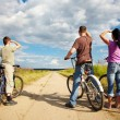Family on bicycle ride — Stock Photo