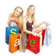 Two girls with bags - comparison shoppin — ストック写真