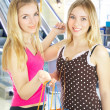 Stock Photo: Two girls with bags - comparison shoppin