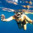Boy floats under water — Stock Photo #1191983