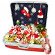 Big suitcase with gifts for Christmas -  