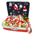 Big suitcase with gifts for Christmas — Stok fotoğraf