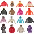 Sixteen winter jackets — Stock Photo