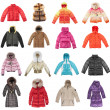 Sixteen winter jackets — Stock Photo #1193479