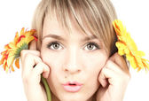 The girl with flowers — Stock Photo