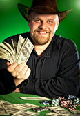 Man with money in hands — Stock Photo