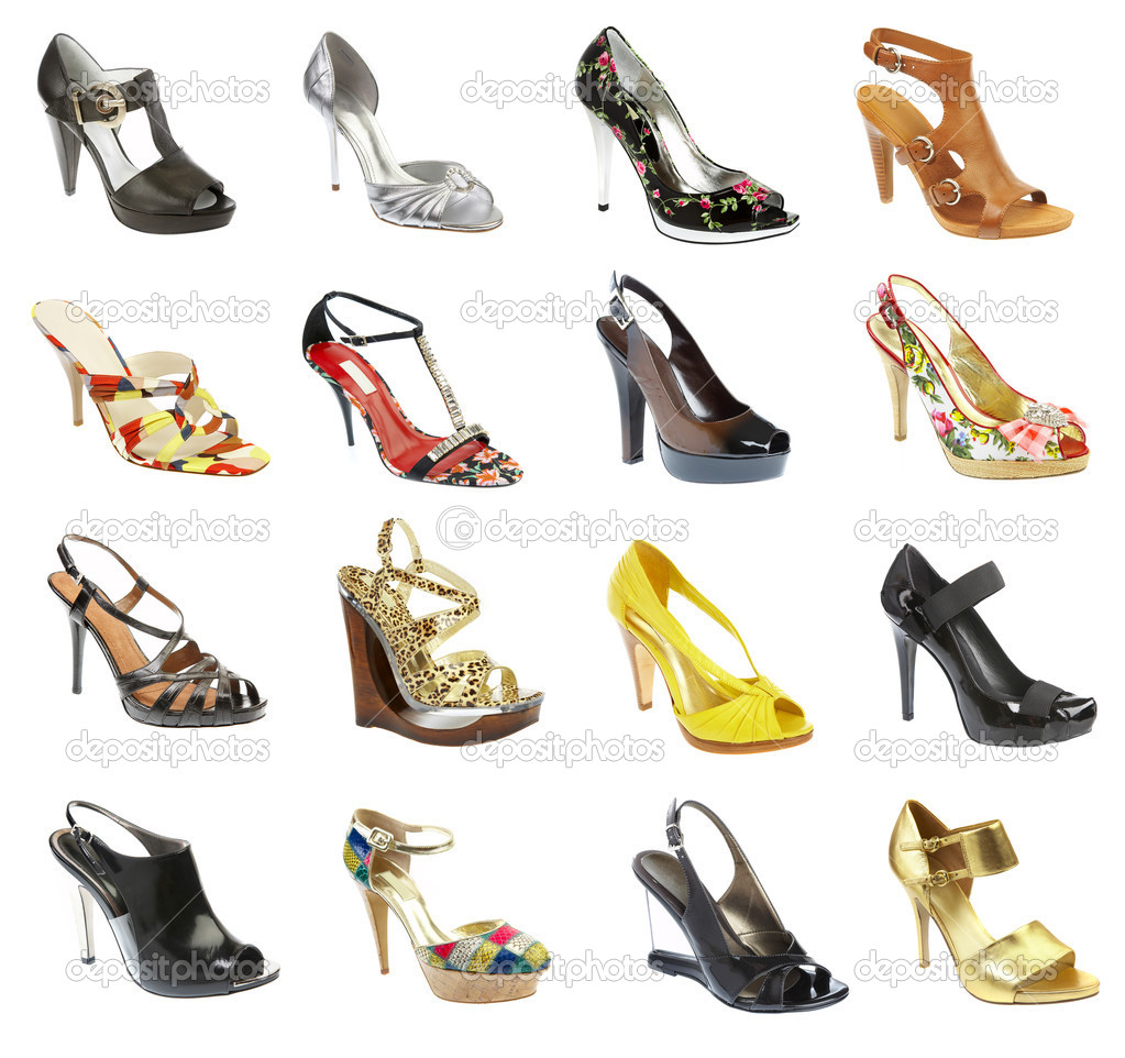 Female footwear on a white background. 16 pieces. — Stock Photo #1193242