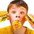 Child and fast food - Stok fotoraf