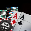 Gambling chips and aces — Stok fotoğraf