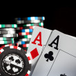 Stock Photo: Gambling chips and aces
