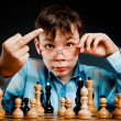 Foto Stock: Nerd play chess