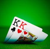 Pockets kings with plenty of felt background — Stock Photo
