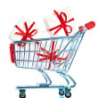 Shopping cart ahd gift - Stock Photo