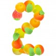 Alphabet from fruit, the number 2 — Stock Photo