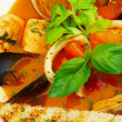Tasty soup on a table at restaurant... — Foto Stock