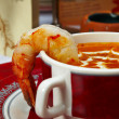 图库照片: Tasty soup on a table at restaurant