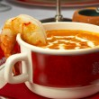Tasty soup on a table at restaurant — Stockfoto