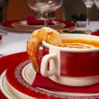 Tasty soup on a table at restaurant — Stock Photo