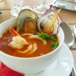 Foto de Stock  : Tasty soup on a table at restaurant