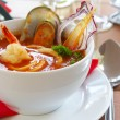 Tasty soup on a table at restaurant - 