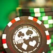 Stock Photo: Gambling chips on green cloth