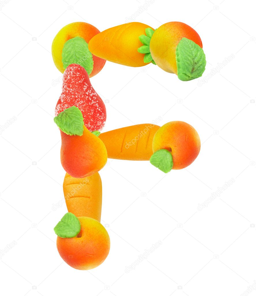 Alphabet from fruit, the letter   F — Foto Stock #1311531