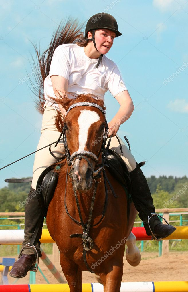 The girl skips on a horse  — Stock Photo #1317816