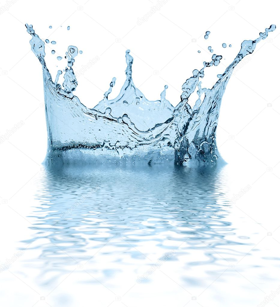 Sparks of blue water on a white background ... — Stock Photo #1319170