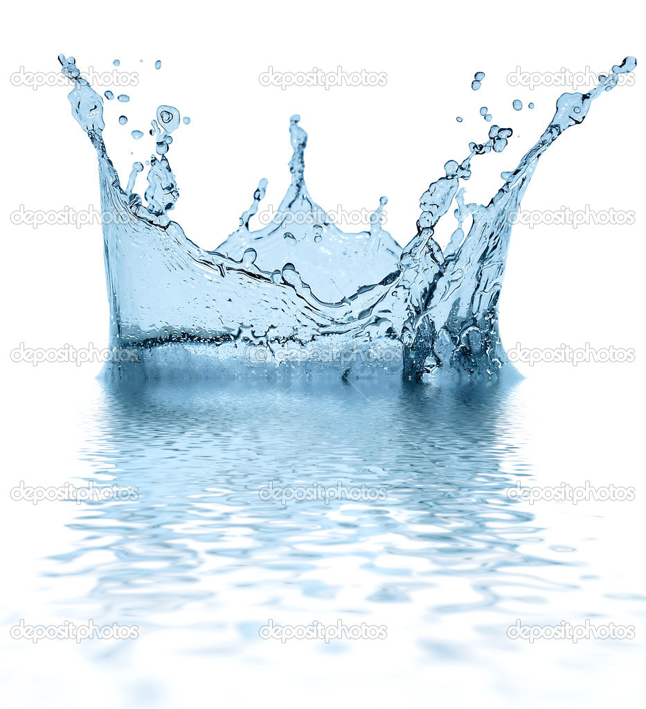 Sparks of blue water on a white background ... — Foto de Stock   #1319170