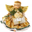Angel with wings in a gold dress — Stock Photo