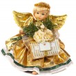 Angel with wings in a gold dress - Stock Photo