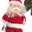 Santa with a handbell in hands near a fu — Stock Photo #1320832