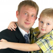 Royalty-Free Stock Photo: The son on hands of the father. Happy fa