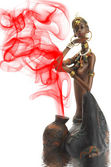 Figurine of the African girl on a white — Stock Photo